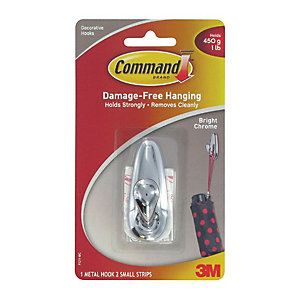 Command™ Small Metal Hook Polished Chrome