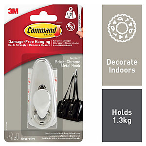 Command™ Medium Metal Hook Polished Chrome