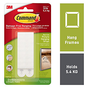 Command™ Narrow Picture Hanging Strips White 8 Pack