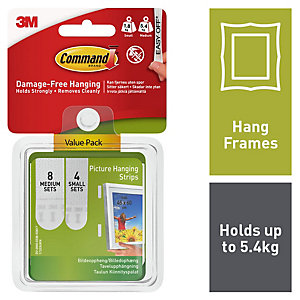 Command™ Small and Medium Picture Hanging Strips Value Pack White