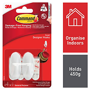 Command™ Small Oval Hooks White 2 Pack