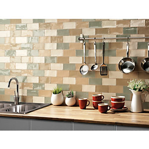 Wickes Cotswold Wall Tile Latte 75x150mm