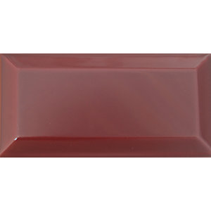 Wickes Bevelled Granate Ceramic Wall Tile 100x200mm