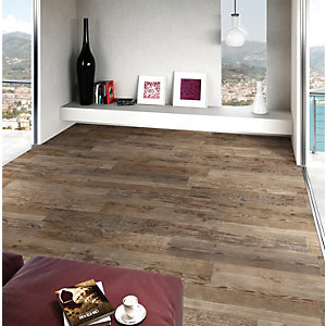 Wickes Madeira Dark Oak Wood Effect Porcelain Floor & Wall Tile 140X840mm