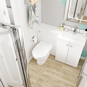 Wickes Madeira Light Oak Beige Porcelain Wall & Floor Tile 140x840mm