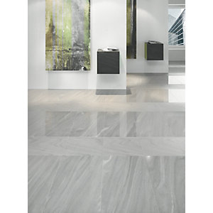 Wickes Arkesia Gris Polished Porcelain Wall & Floor Tile 300x600mm