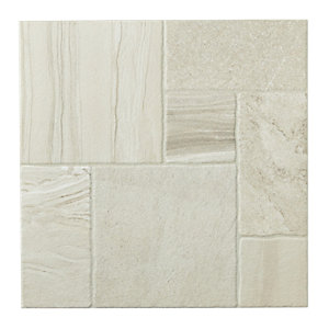 Wickes Modular Stone Effect White Porcelain Floor Tile 436x436mm