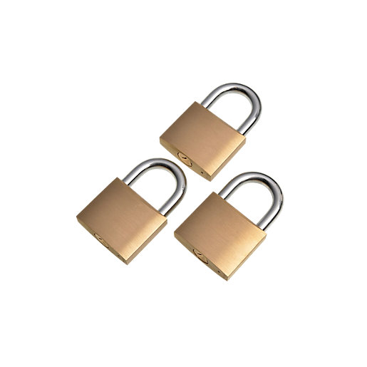 Wickes Padlock Brass 40mm 3 Pack