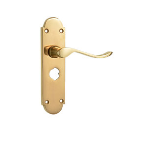 Wickes Prague Victorian Shaped Privacy Handle Polished Brass Finish