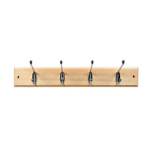 Wickes Hat and Coat Hook Rack Pine & Chrome Plated