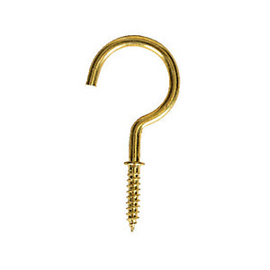Wickes Shouldered Cup Hooks Brass 38mm 10 Pack