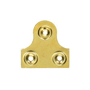 Wickes Plain Glass Plate Plain Brass 38mm 10 Pack