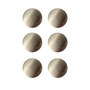 Wickes Victorian Knobs Brushed Nickel Finish 38mm 6 Pack