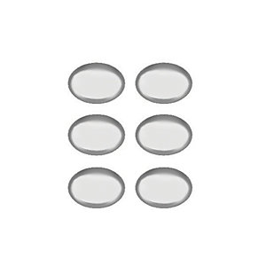 Wickes Oval Knobs Polished Chrome Finish 33mm 6 Pack