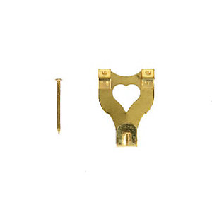 Wickes Double Picture Hook No.3 Brass Plated 33 x 25mm 10 Pack
