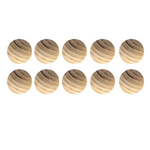 Wickes Unvarnished Beech Ring Knobs 40mm 10 Pack