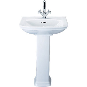 Wickes Belize 2 Tap Hole Basin with Full Pedestal 600mm