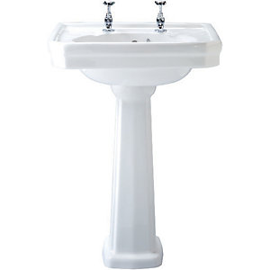Wickes Hamilton Basin (No Upstand) with Full Pedestal 630mm
