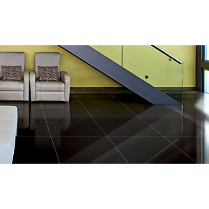 Wickes Black Gloss Porcelain Floor Tile 600x600mm