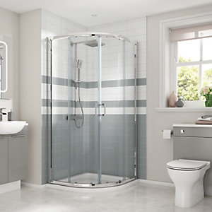 Wickes Quadrant Semi Frameless Enclosure Chrome 900mm