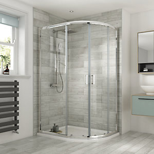 Wickes Offset Quadrant Semi Frameless Enclosure Chrome 1200x900mm