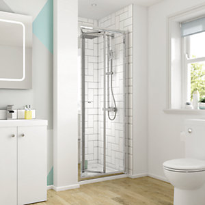 Wickes Square Bi-Fold Semi Frameless Enclosure Chrome 800mm