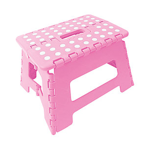 Wickes Plastic Folding Step Stool Pink