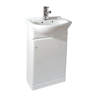White Gloss Vanity Unit & Basin 450mm