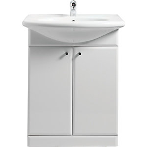 Wickes White Gloss Vanity Unit & Basin 550mm