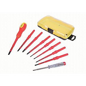 Wickes Multi Bit Ratchet VDE Screwdriver 9 Piece