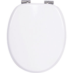 Wickes White Wood Effect Soft Close Toilet Seat