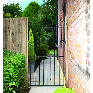 Wickes Chelsea Bow Top Black Metal Gate 1790mm High - Fits Opening of 838mm