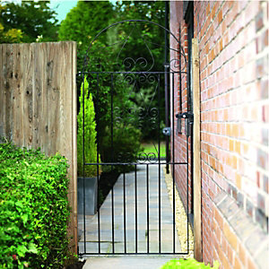 Wickes Chelsea Bow Top Black Metal Gate 1830mm High – Fits Opening of 914mm