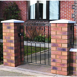 Wickes Chelsea Bow Top Black Metal Gate 900mm High- Fits Opening of 991mm