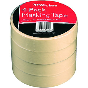 Wickes Masking Tape 24mmx50m 4 Pack