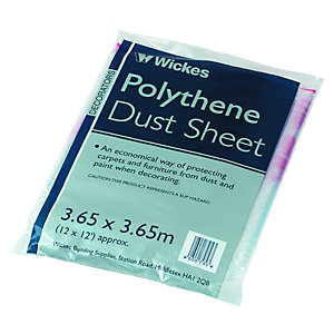 Wickes Polythene Dust Sheet 3.65 x 3.65m 10 Pack