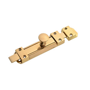 Wickes Flat Tower Bolt Brass Effect 152mm