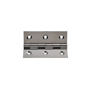 Wickes Butt Hinge Chrome Plated Brass 76mm 3 Pack