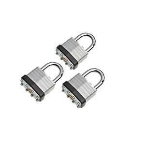 Wickes Laminated Padlock 40mm 3 Pack