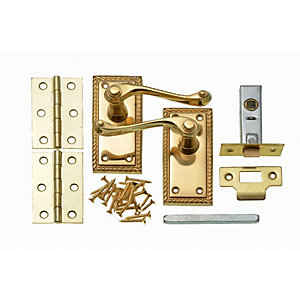 Wickes Cheshire Georgian Scroll Latch Handle Set Polished Brass