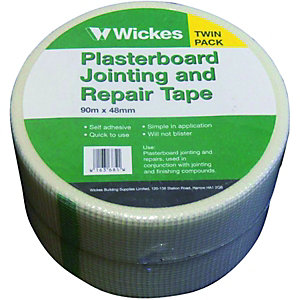 Wickes Fibreglass Plasterboard Repair & Jointing Tape 90m Pack 2