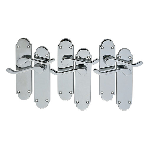 Wickes Vancouver Victorian Shaped Latch Handle Set Chrome Finish 3 Pack