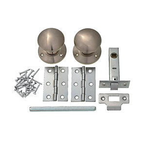 Wickes Victorian Mortice Knob Set Satin Nickel Finish