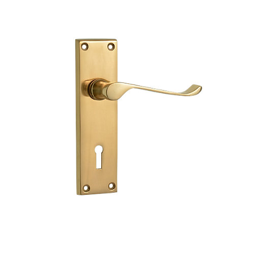 Wickes paris victorian scroll lock handle polished brass for Door viewer wickes