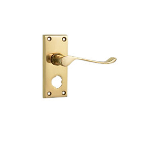 Wickes Paris Victorian Scroll Privacy Handle Polished Brass Finish
