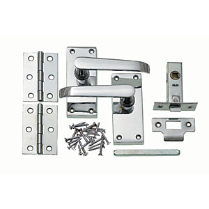 Wickes New York Victorian Straight Latch Handle Set Chrome Finish