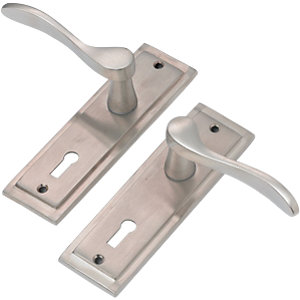Wickes Bravo Lock Handle Satin Nickel Finish