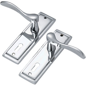 Wickes Bravo Lock Handle Polished Chrome Finish