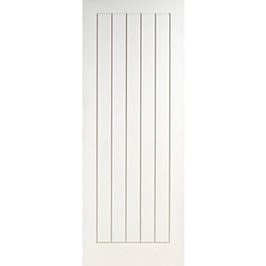 Wickes Geneva Internal Fire Door White Grained Moulded 5 Panel 1981 x 762mm