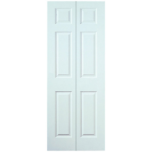 Wickes Woburn Internal Bi-Fold Door White Smooth Moulded 6 Panel 1981x686mm